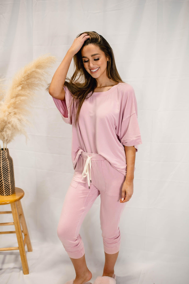 FEELING GOOD ACID WASH LOUNGE SET | PINK