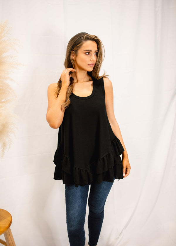 LOVING LIFE SLEEVELESS RUFFLE TOP | BLACK