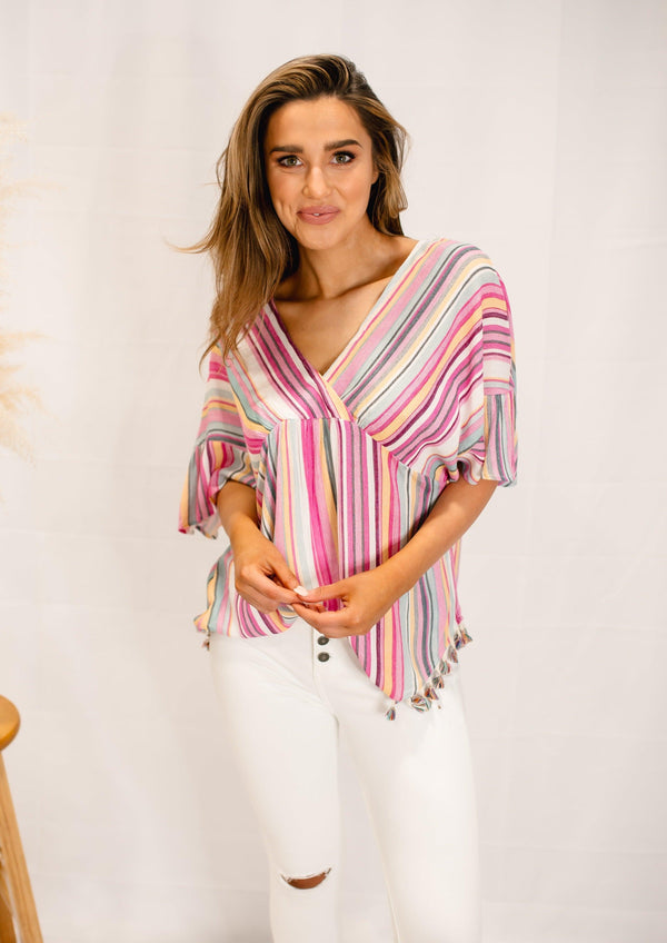 PARADISE MULTI COLOR TASSLE TOP