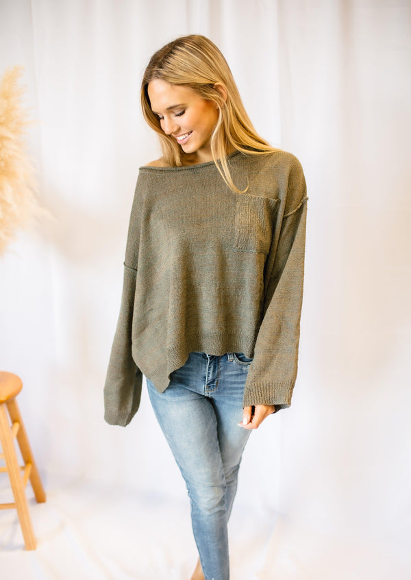 STUCK WITH ME DOLMAN SWEATER | OLIVE