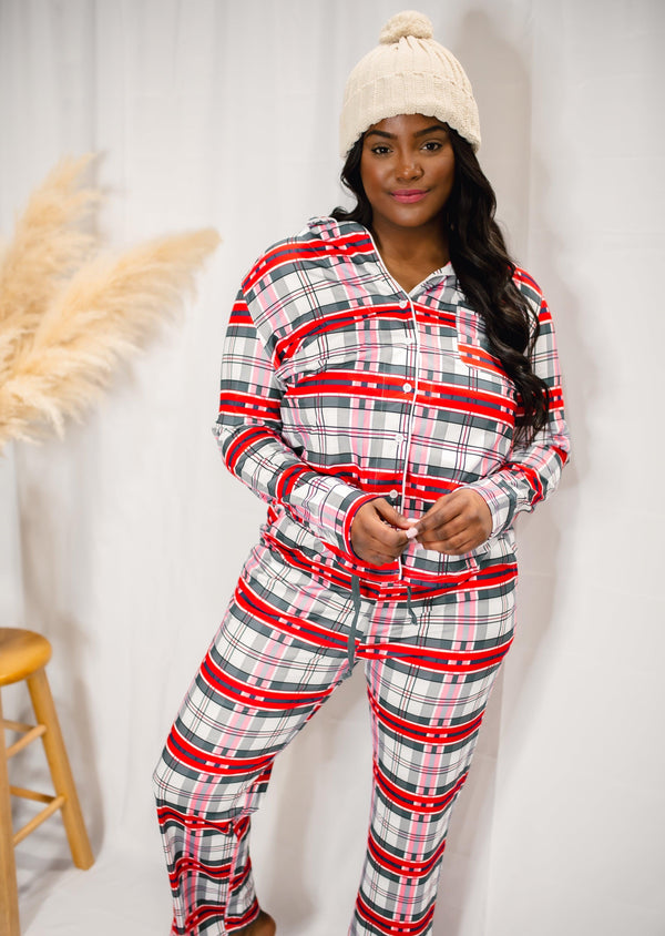 THERE'S SNOW PLACE LIKE HOME PLAID PAJAMA SET