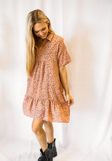 PERFECT FIT LEOPARD DRESS | FADED CORAL