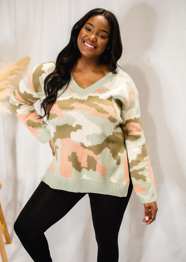 DISGUISE MY LOVE CAMO SWEATER