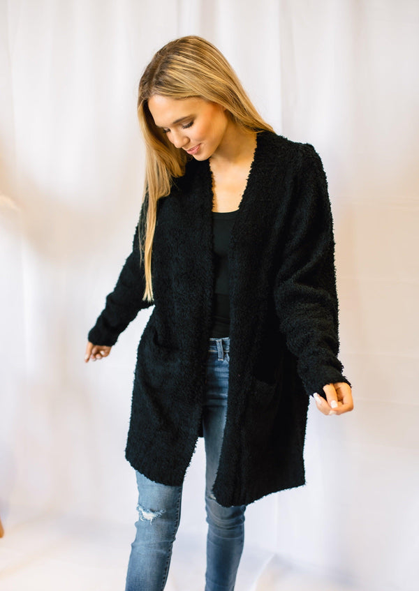 BELIEVER KNITTED TEDDY CARDIGAN | BLACK