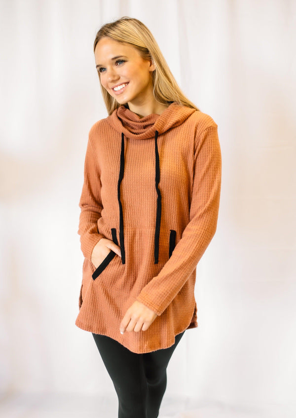 HOMETOWN DATE COWL NECK SWEATER | BRONZE