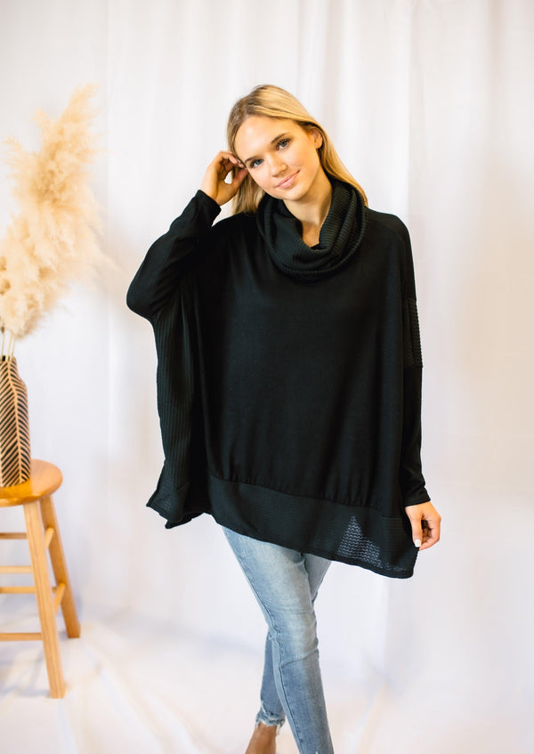 SET THE TONE COWL NECK SWEATER | BLACK