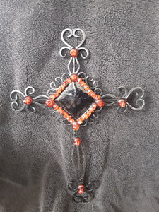 Stunning Metal Cross Embellished with Red Plastic Crystal Dazzlers and Red Flat Back Button Stones
