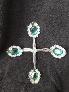 Beaded Cross Embellished with Green and Clear Stones