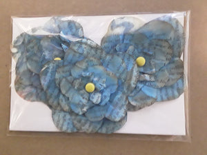 Hand-Cut Book Page Flowers--Shades of Teal/Blue