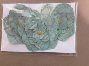 Hand-Cut Book Page Flowers--Shades of Light Teal