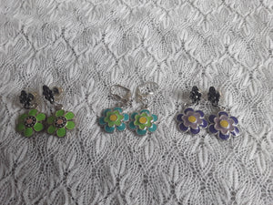Three Pack of Enameled Flower Earrings