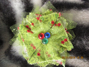Handmade Fabric and Tulle Flower--Green with Red Flowers