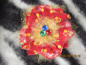 Handmade Fabric and Tulle Flower--Red with Yellow Flowers