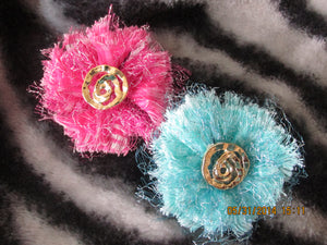 Handmade Fabric and Tulle Flowers--Pink and Teal
