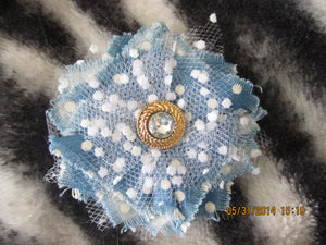 Handmade Fabric and Tulle Flower--Blue