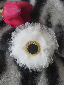 Cheesecloth Flower With Black Center