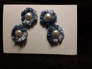 Four Little Button Flowers in Blue