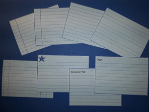 Lined Index Journal Cards in Blue