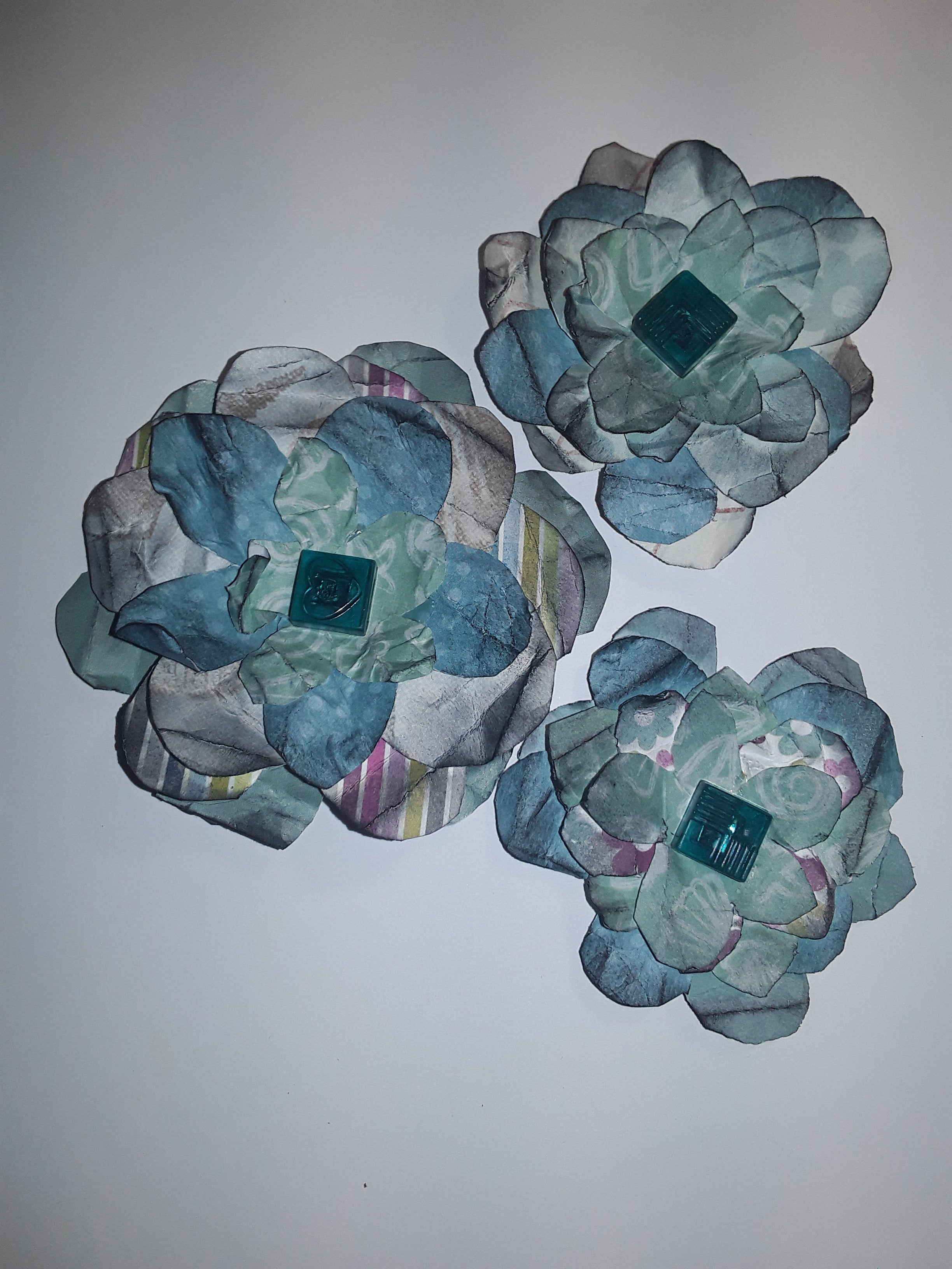 Hand-Cut Paper Flowers in Teal