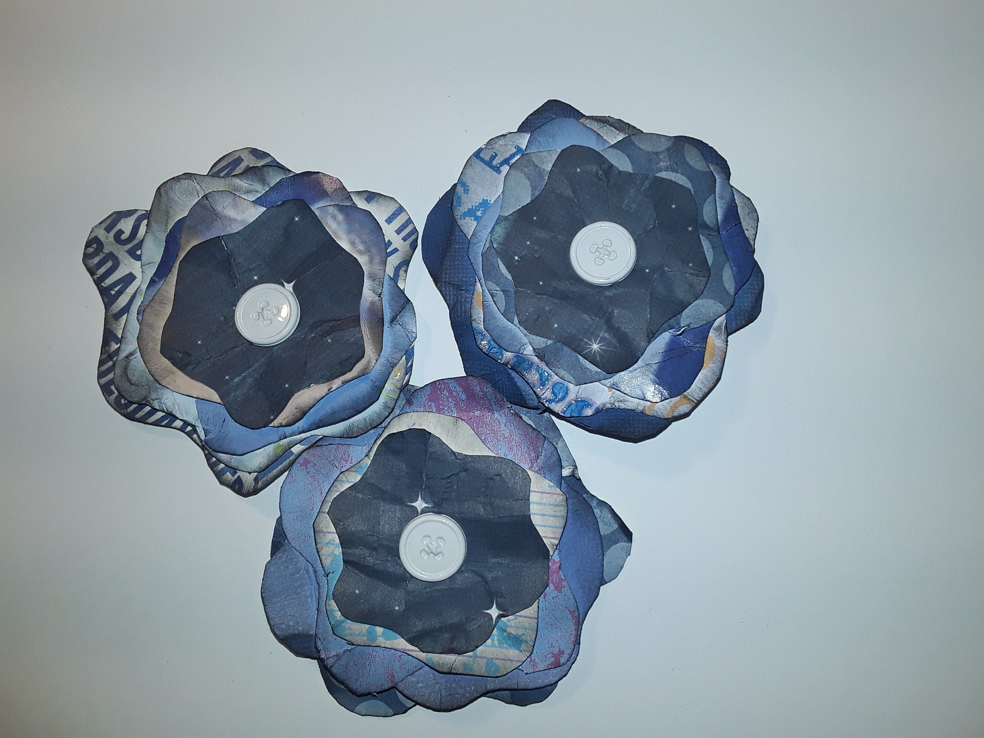 Hand-Cut Paper Flowers in Blue
