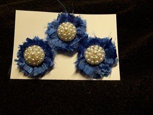 Set of Three Deep Blue Satin Flowers