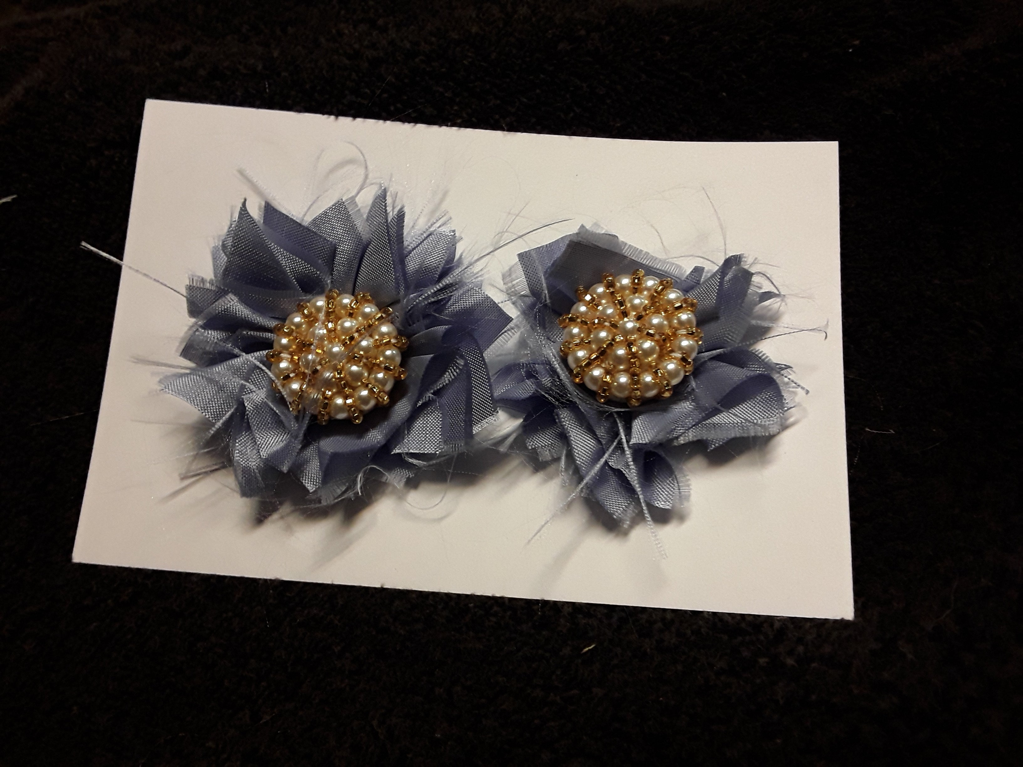 Two Periwinkle Blue Satin Flowers