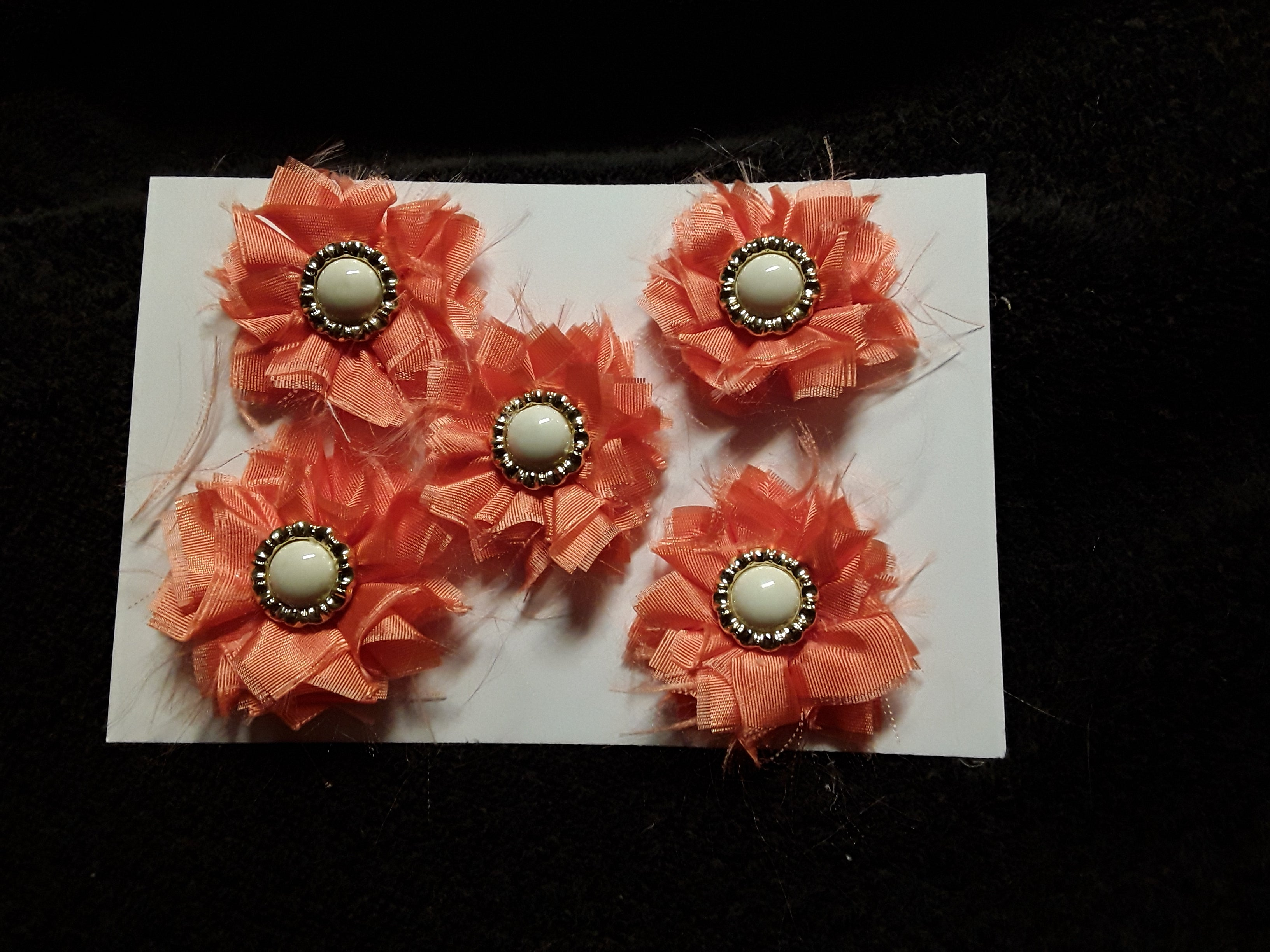 Five Little Orange Satin Flowers