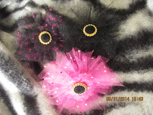 Black and Pink Tulle Flowers