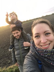 Kate with her family; son Sam on her husband's shoulders