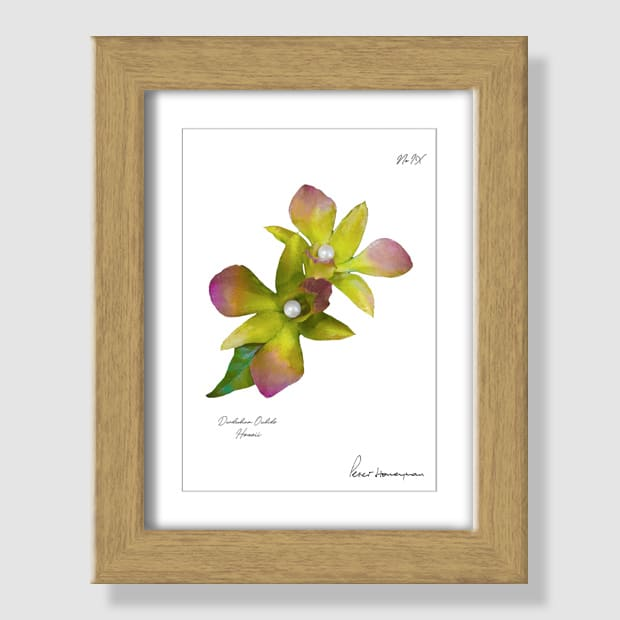 Green Orchid Natural Wood Framed Print