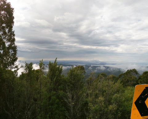 Beautiful view for cyclists when they approach Annie's lookout.  Looking out to the Derwent River from Hobart