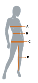 Image of women's silhouette showing measurement locations for size chart