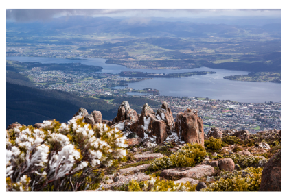 View of Hobart from the summit of Mt Wellington / Kunyani.  A tough climb on the bike but very rewarding journey for cyclists keen to give it a try