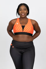 High support sports bra with high waist leggings showing side pocket and coin pocket