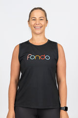 Black relaxed fit muscle tank with soft stretchy fabric and low arm holes to ensure no chaffing
