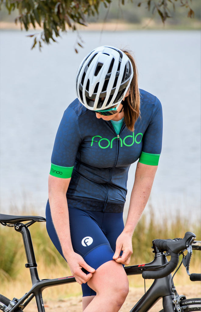Women's Cycling Bibs - Navy/white logo
