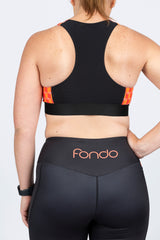 Rear view of high waist leggings with side pocket with high impact sports bra with mesh racerback