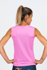 mesh womens running singlet or cycling baselayer high wicking bright pink