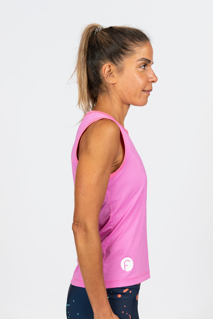 mesh running singlet or cycling baselayer high wicking bright pink