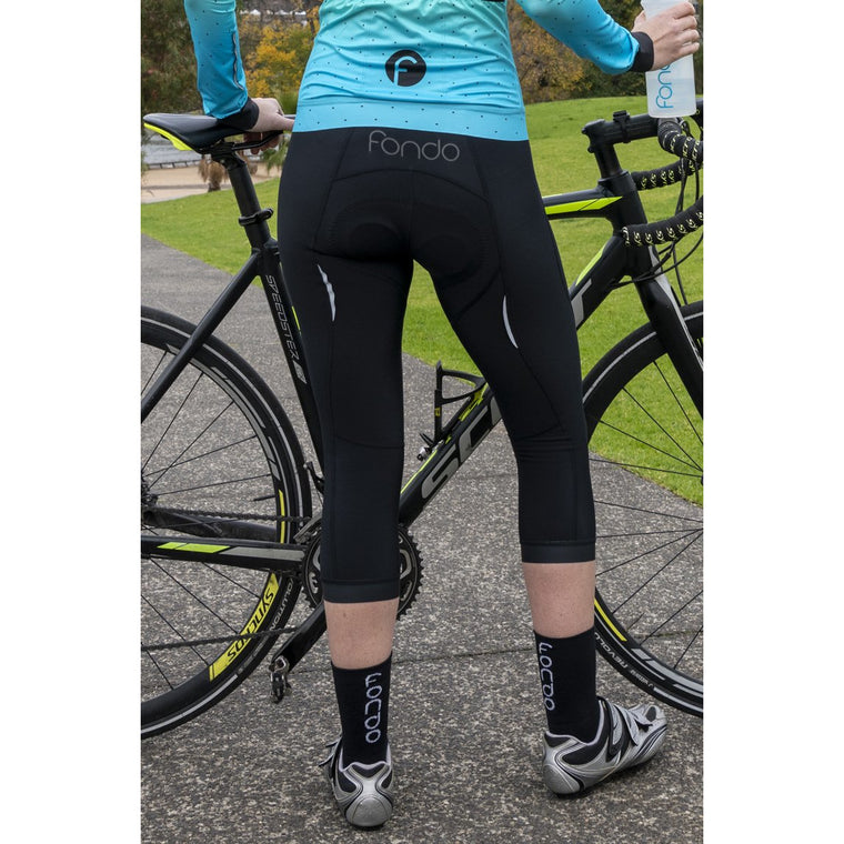 7/8 fleece bib tights with chamois