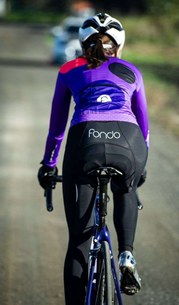 Long fleece bib tights with chamois