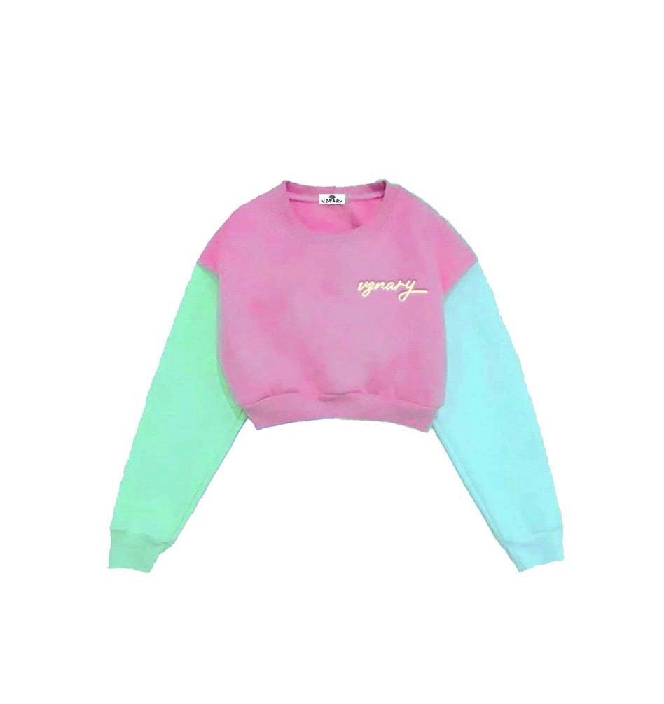 """Sherbet"" Colorblock Cropped Sweater"