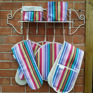 Rainbow cooking range accessories, hob coves, double oven gloves, gauntlets, long oven gloves, bread baskets, British manufacturing and weaving high quality