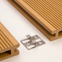 Close-up of a Middle Clip between two WPC decking boards