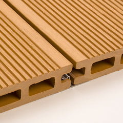 Close-up of two WPC decking boards held in place by a Middle Clip
