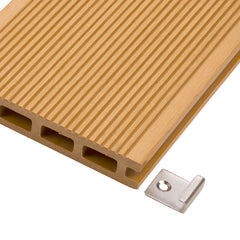 Close-up of a Starter Clip and a WPC decking board