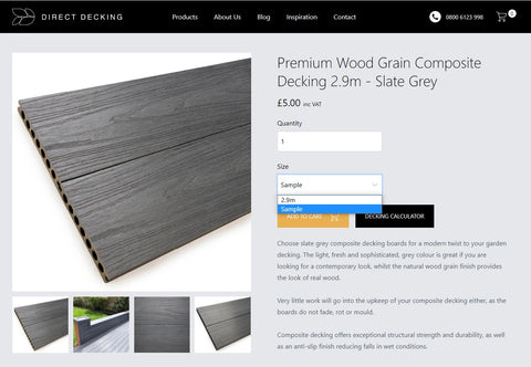 A screen shot of a Direct Decking product page illustrating how to order a colour sample