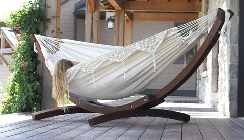 Cream hammock with wooden stand from We do Hammocks