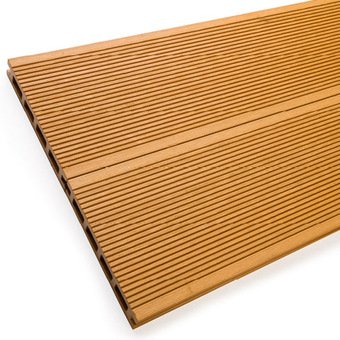 Teak grooved composite decking boards