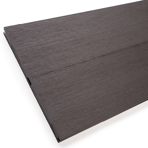 Reverse side of charcoal black heavy duty composite decking boards